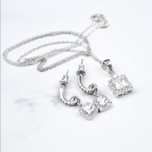 Pave Necklace & Earring Set - Cubic Zirconia
